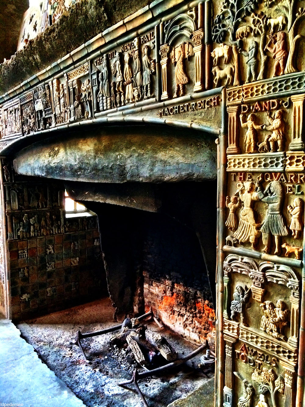 tile fireplace at Fonthill Castle