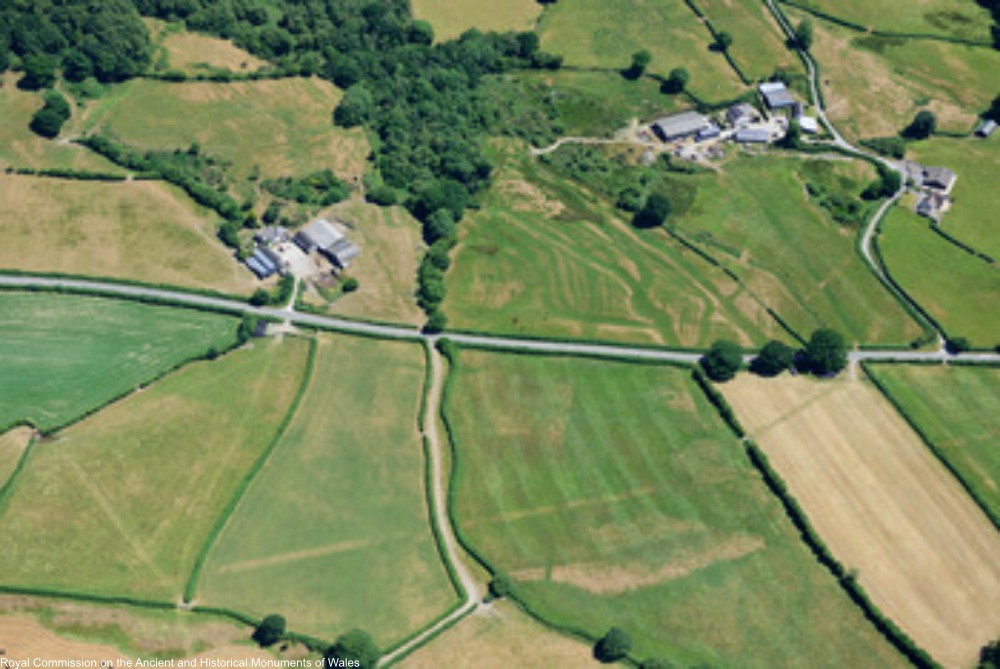 aerial photos showing ancient Roman roads and sturctures