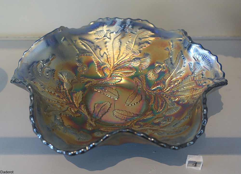 Fenton ruffled carnival glass bowl