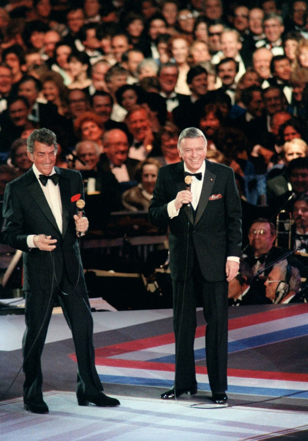 Dean Martin and Frank Sinatra performing at Reagan's 1985 Presidential Inaugural Gala at the D.C. Convention Center.
