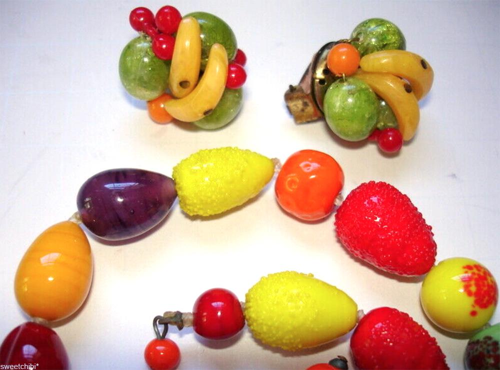 fruit salad vintage jewelry set
