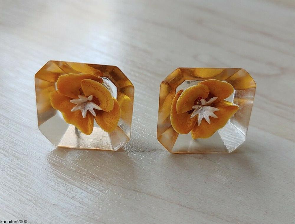 reverse-carved vintage lucite earrings