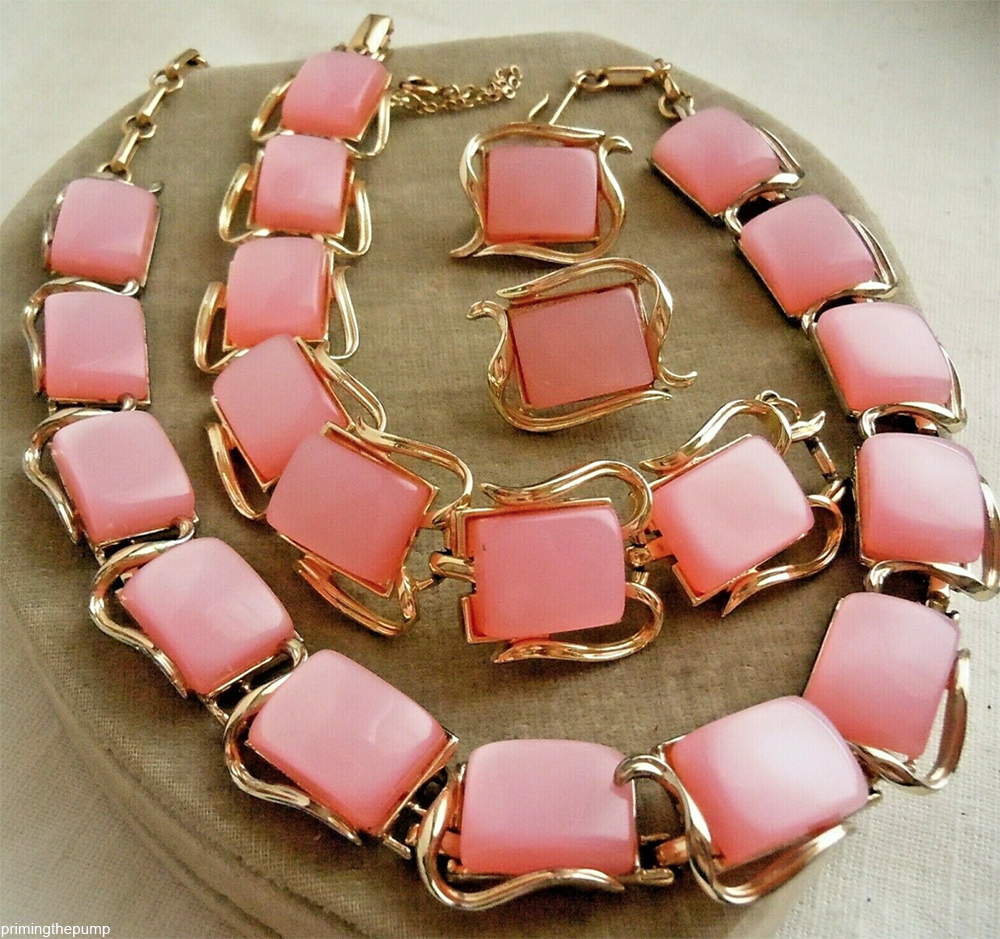 vintage lucite moonglow jewelry set