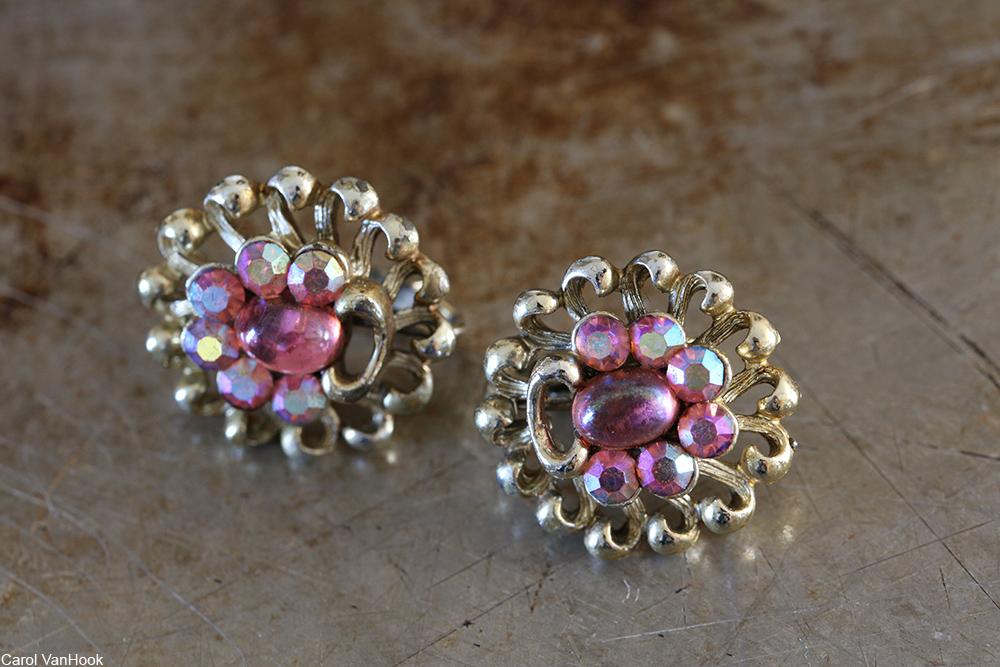 pair of vintage aurora borealis clip on earrings