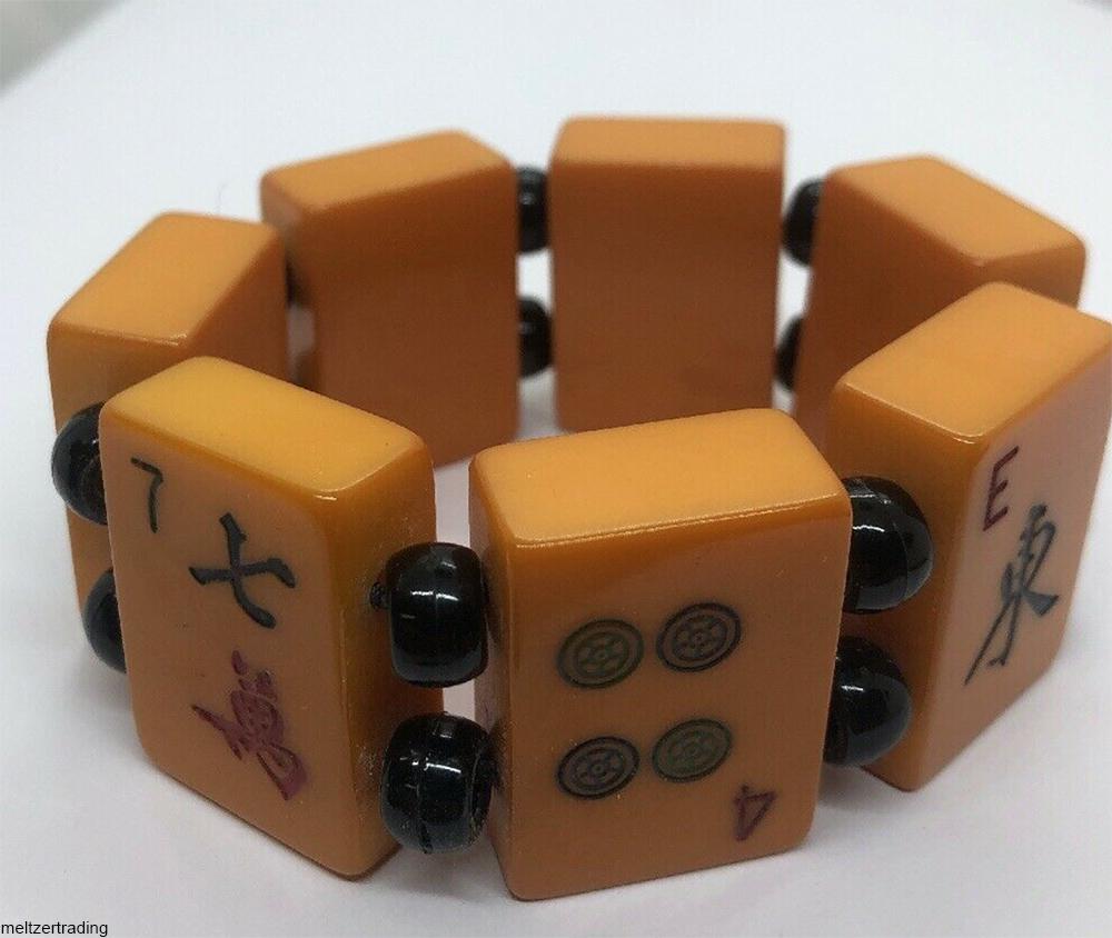 Bakelite or catalin mah jong tile bracelet