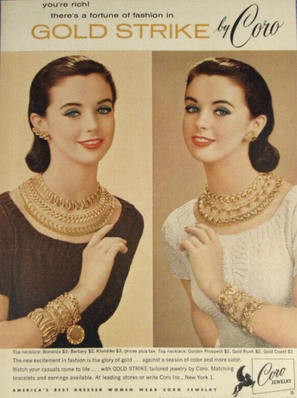 Coro costume jewelry ad from the 1950s