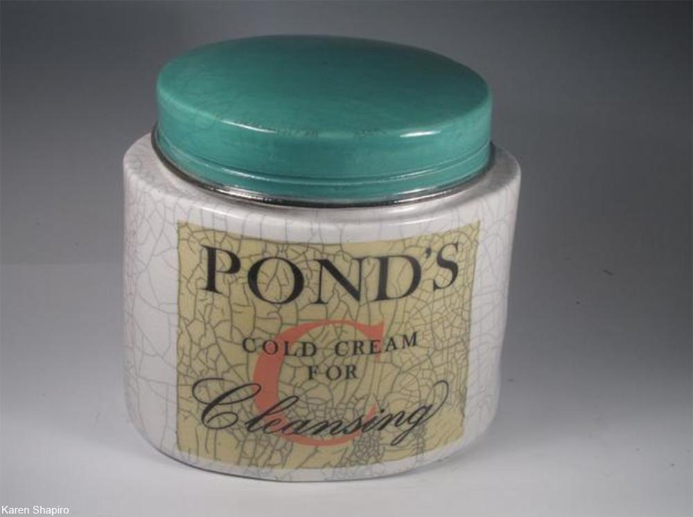 giant ceramic Pond's cold cream jar as art