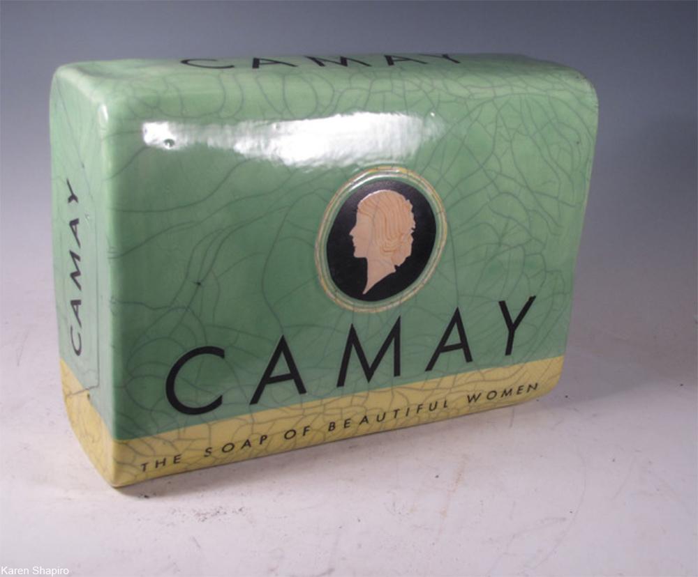 giant ceramic Camay bar as art