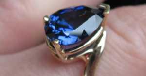 a pear cut sapphire ring