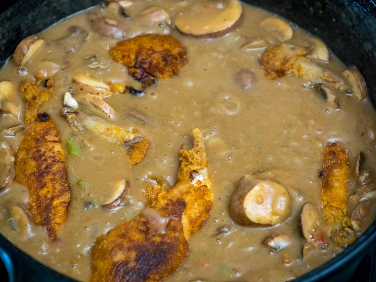 making Cajun Chicken Fricassee