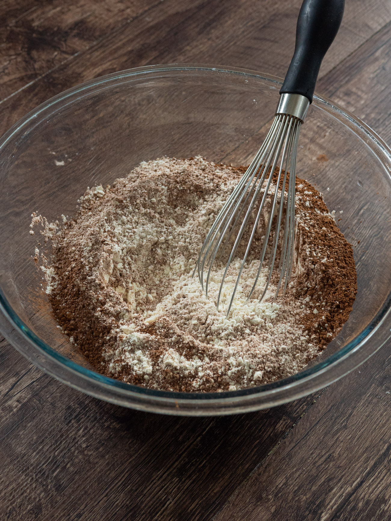 In a large bowl sift together flour, baking powder, salt, and cocoa.