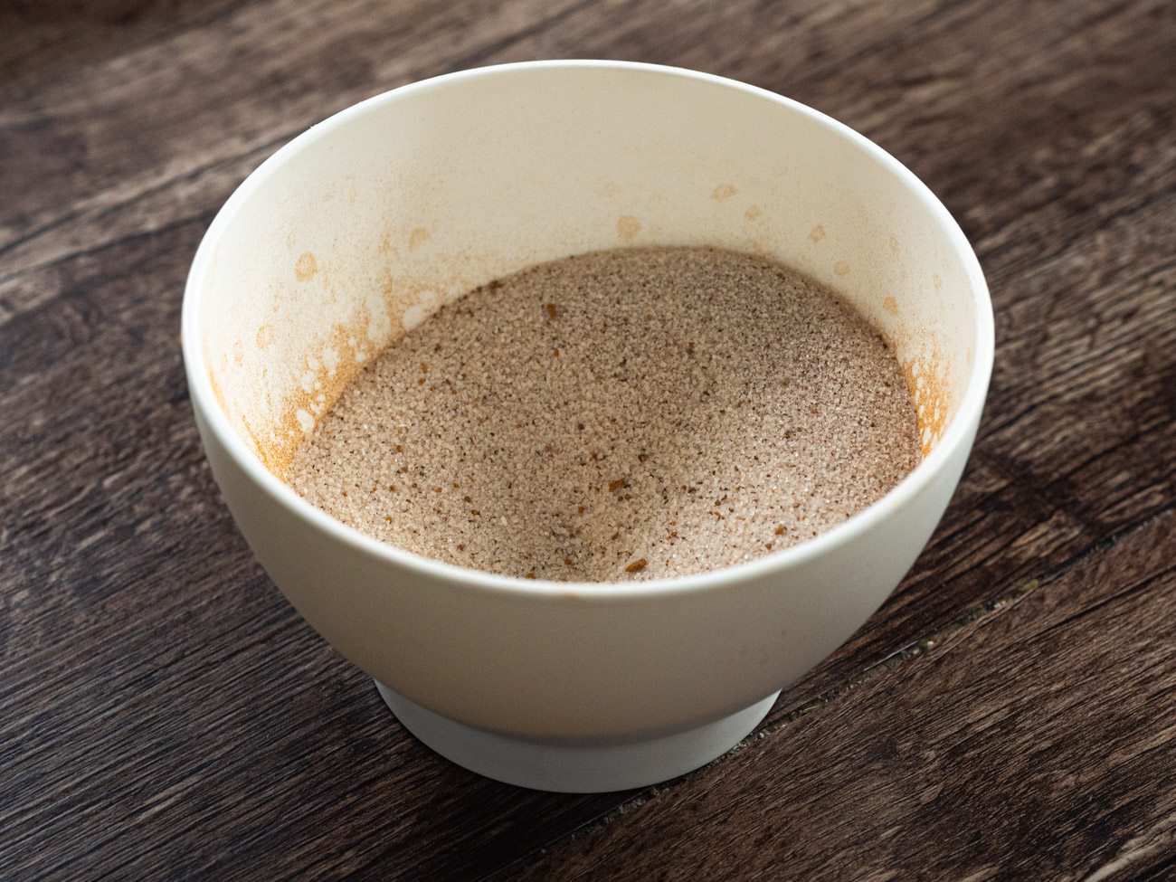 Combine the sugar, cinnamon, and nutmeg in a small bowl. Set aside for later.