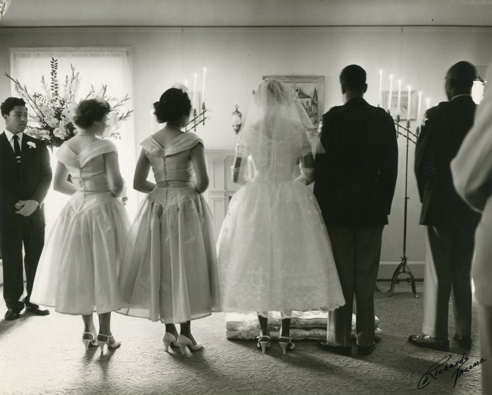 photograph of a small American wedding, 1955