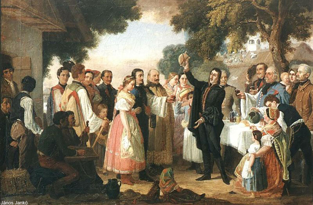 depiction of a European wedding celebration from 1869