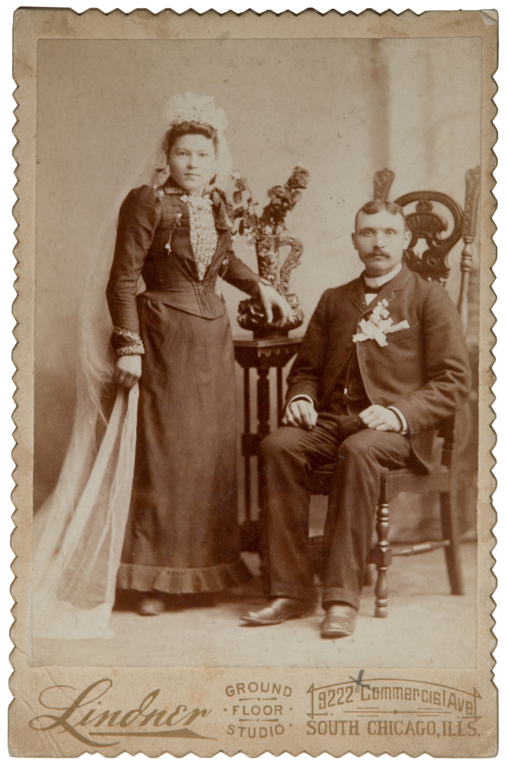 portrait of a Victorian bride and groom