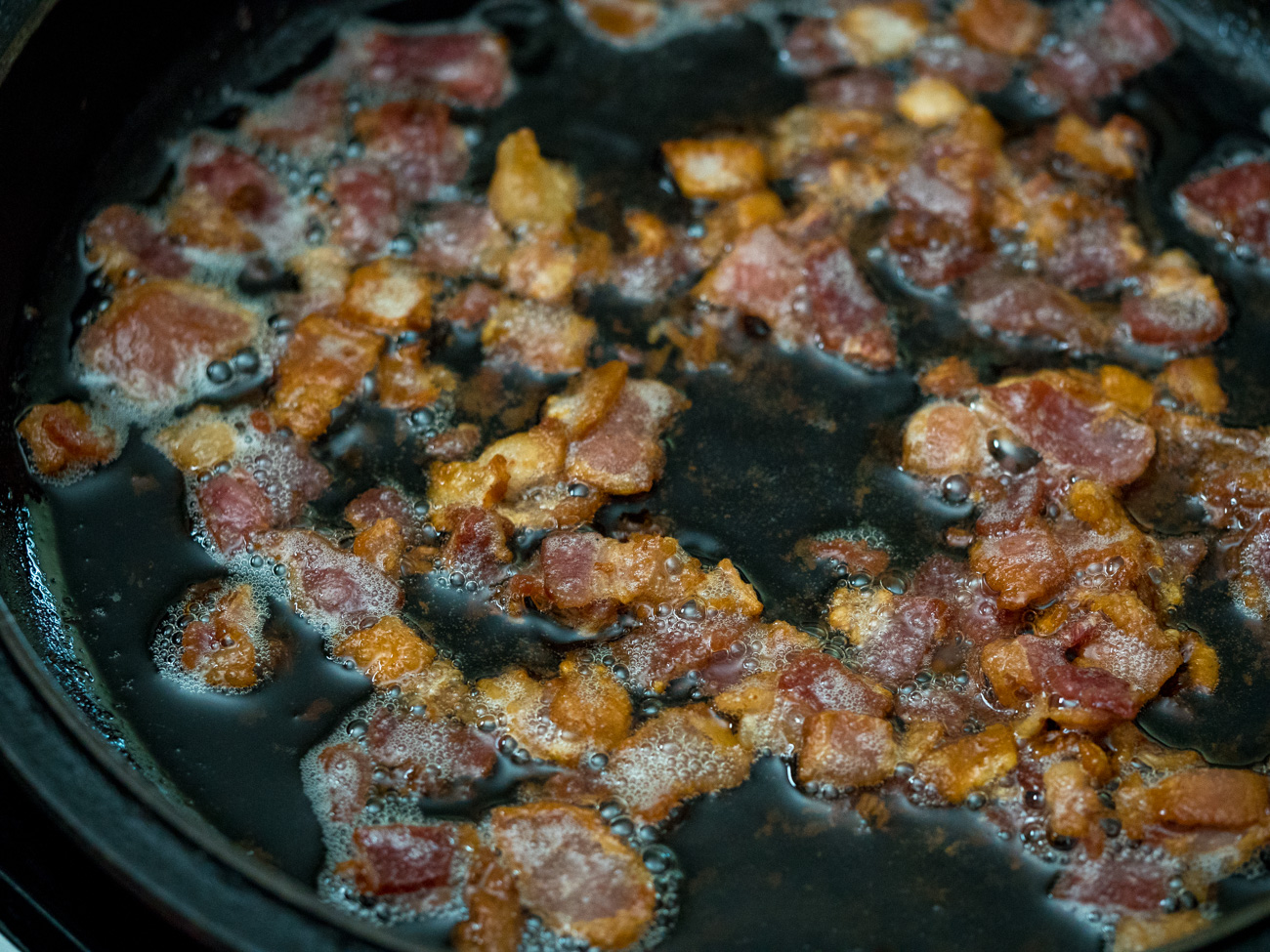 cooking bacon for Bavarian Potato Salad