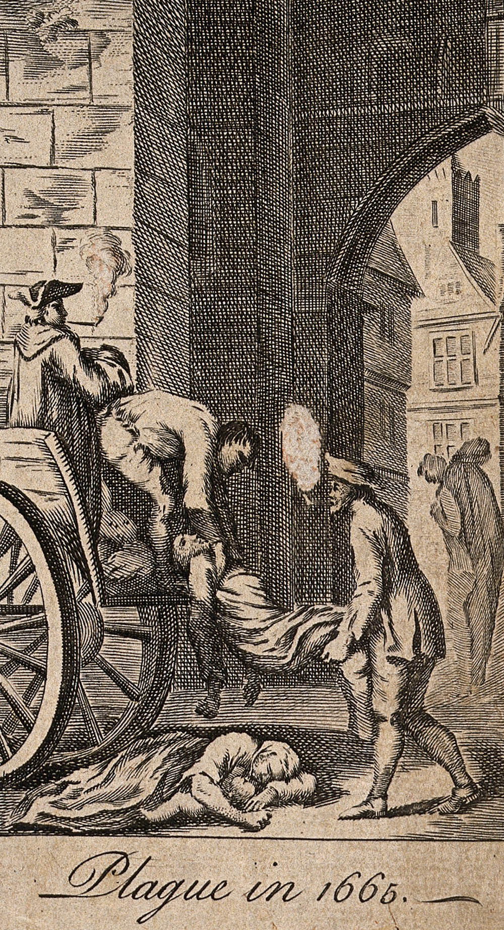 18th century depiction of how the plague was handled in the 1600s