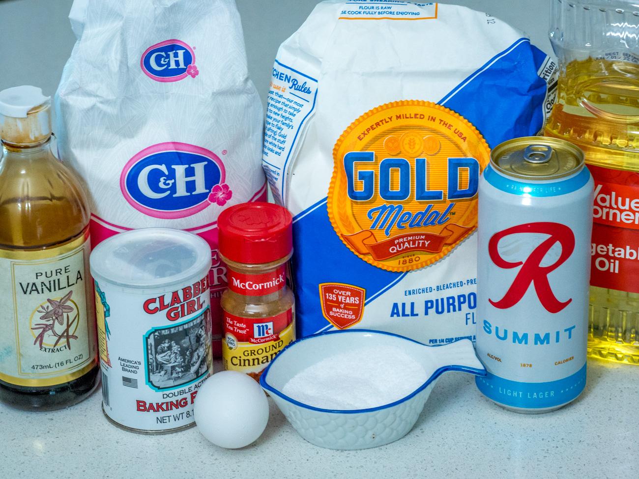 ingredients for Grown-Up Beer Pancakes