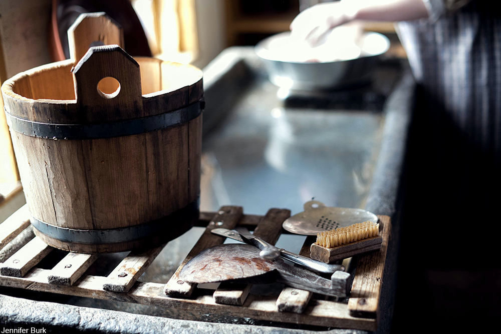 Victorian sink and wooden bucket