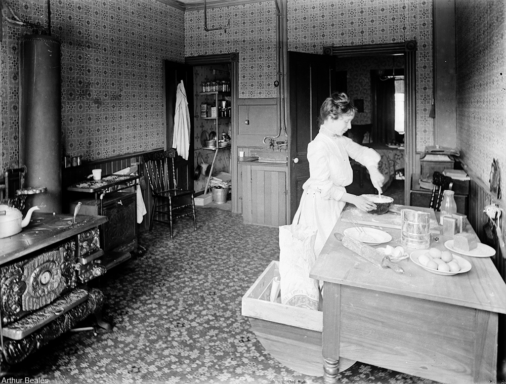 early 20th century kitchen with huge iron stove