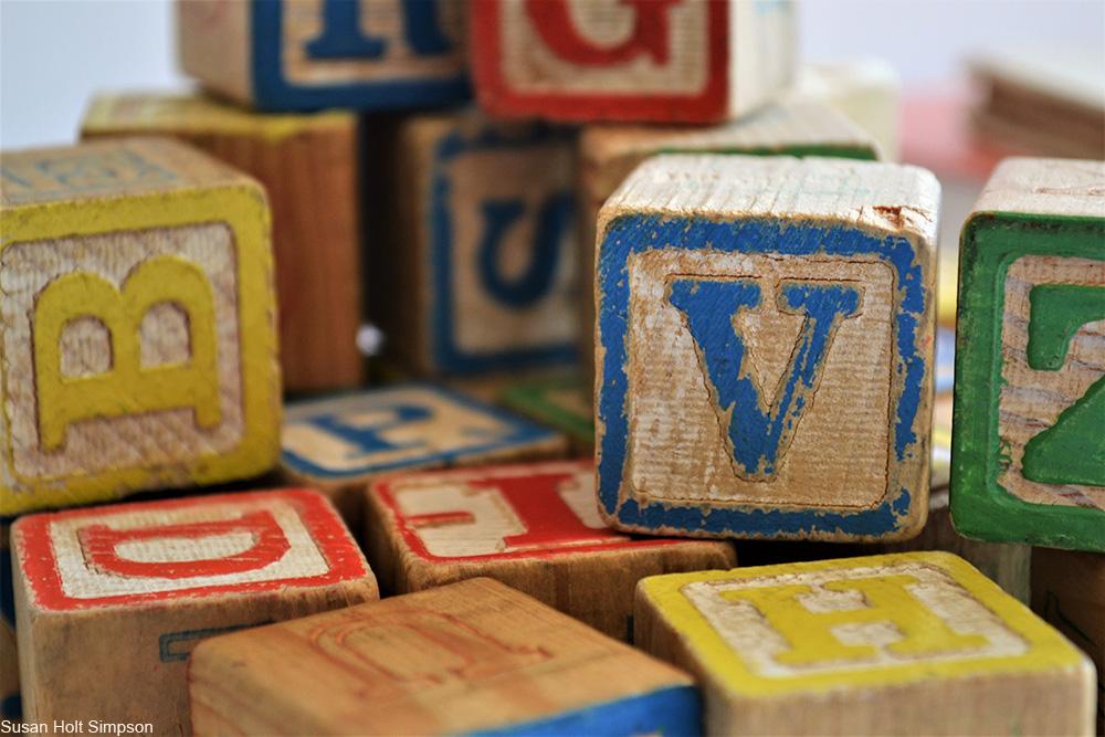 vintage letter block toys