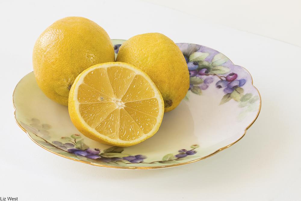 lemons on a china plate