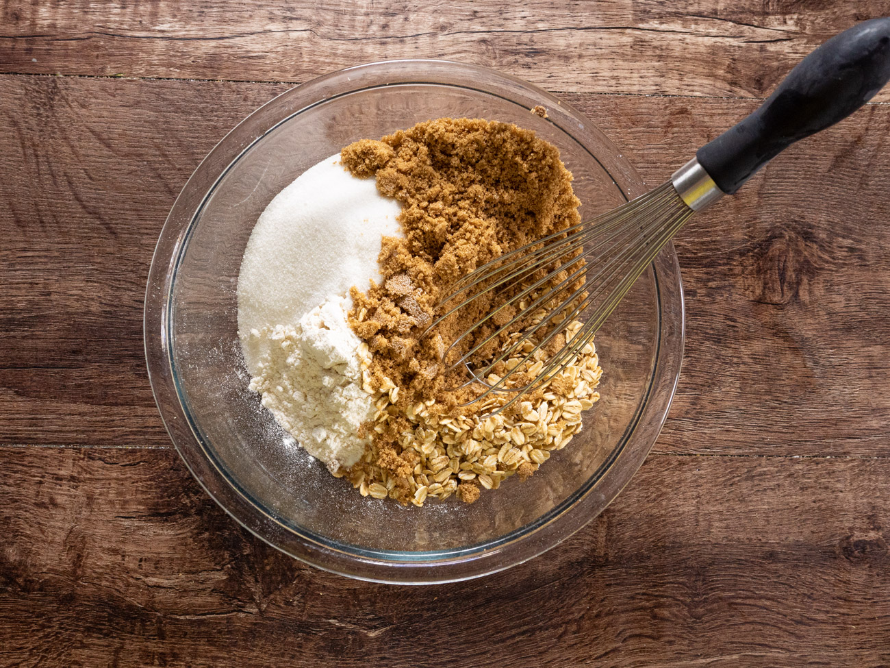 Combine flour, oats, salt, cinnamon, nutmeg, and baking soda in a large bowl. Mix in sugar and light brown sugar.