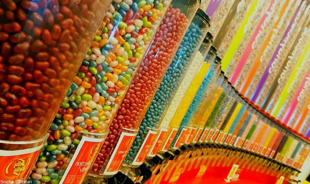 candy store filled with bulk bins of Jelly Belly jelly beans