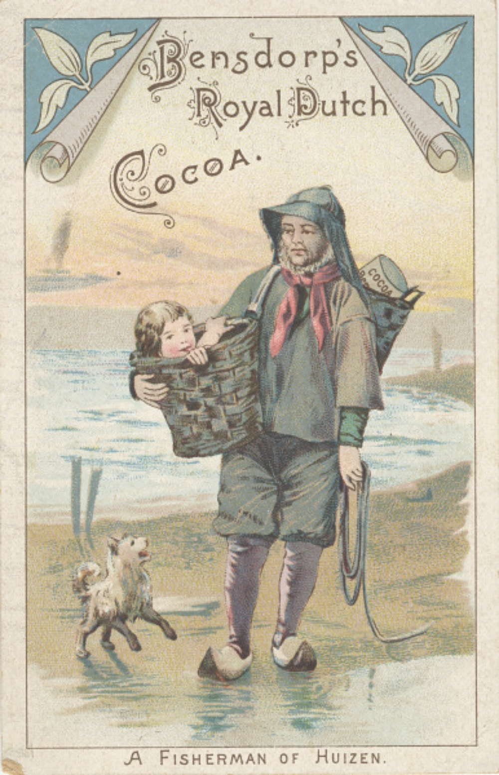 late 19th century advertising card for Dutch cocoa
