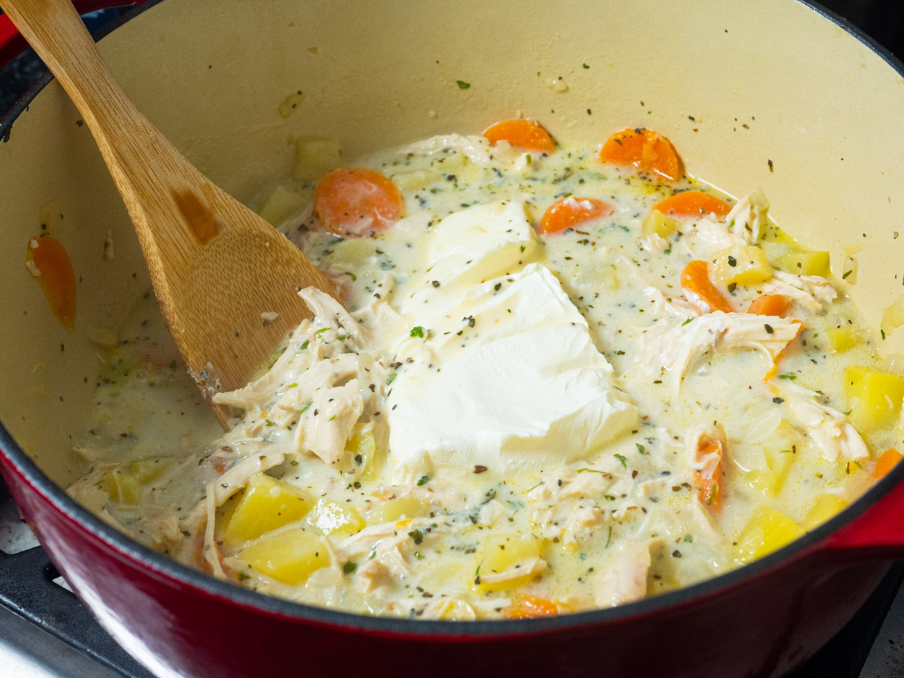 Finally, add cream cheese to the soup and let it cook for 5 minutes or until the cream cheese is completely melted.