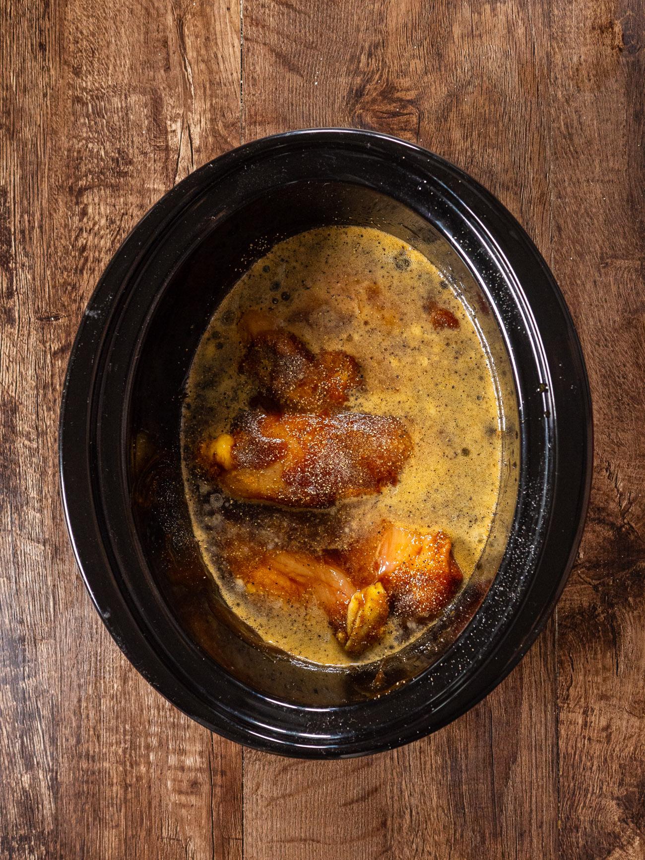 making Crock Pot Root Beer Chicken