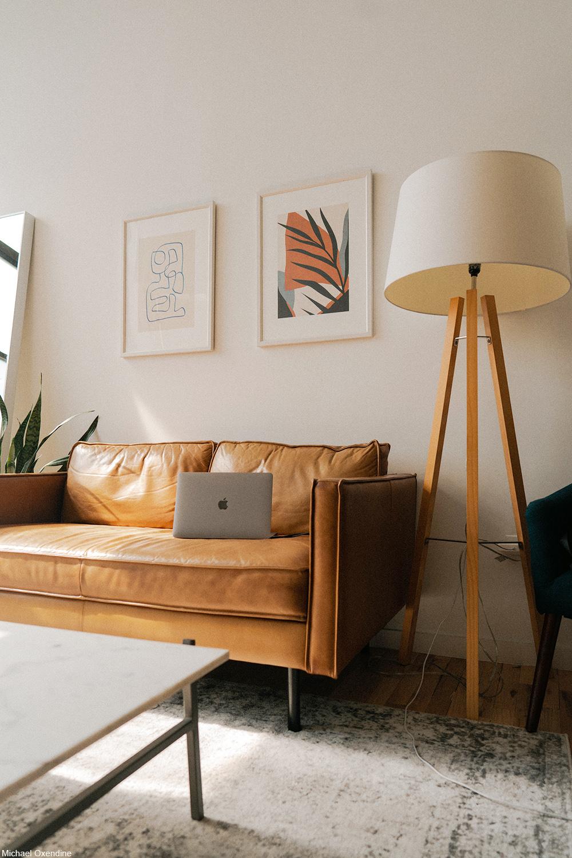 modern living room with earthtone colors