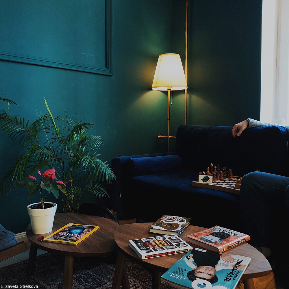 navy blue sofa in front of a green wall
