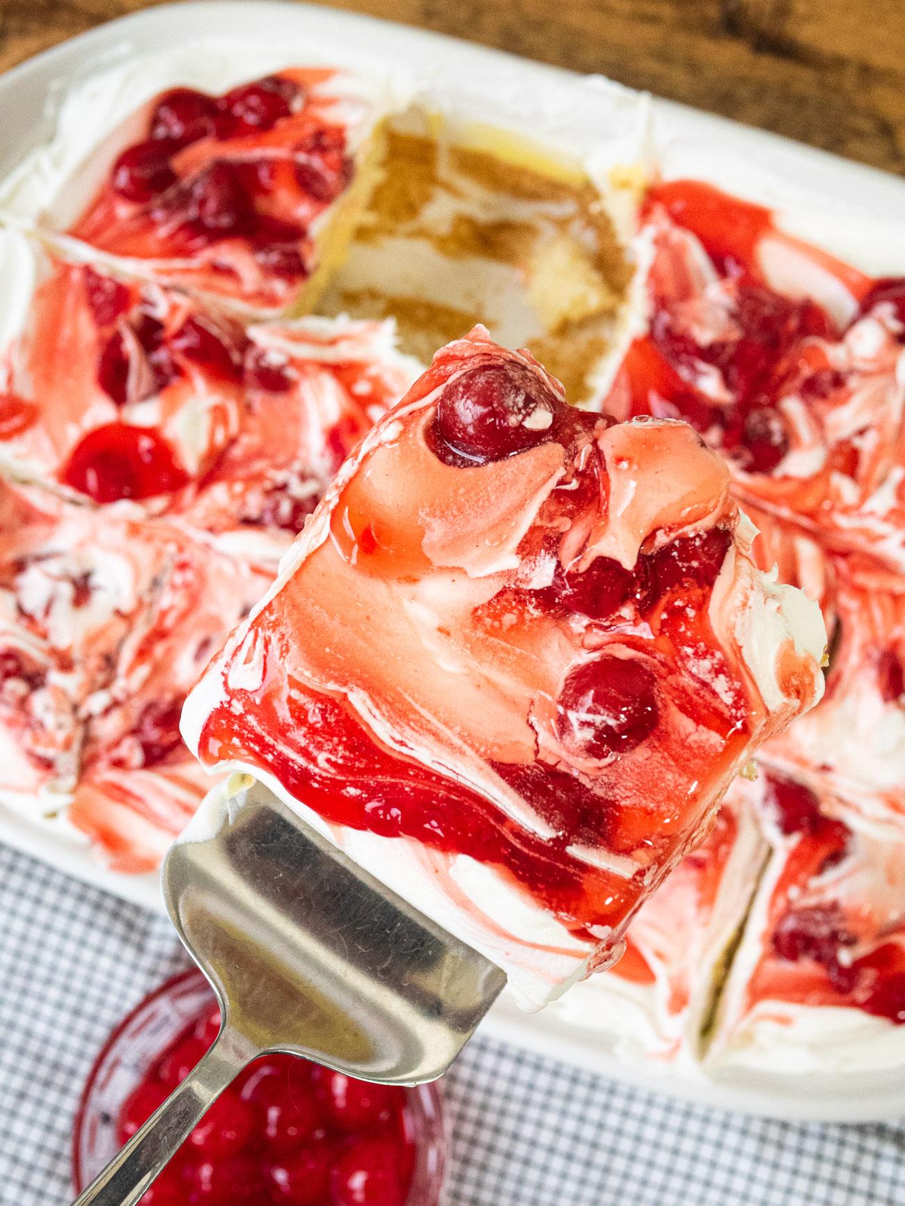 Cherries in the Snow Poke Cake