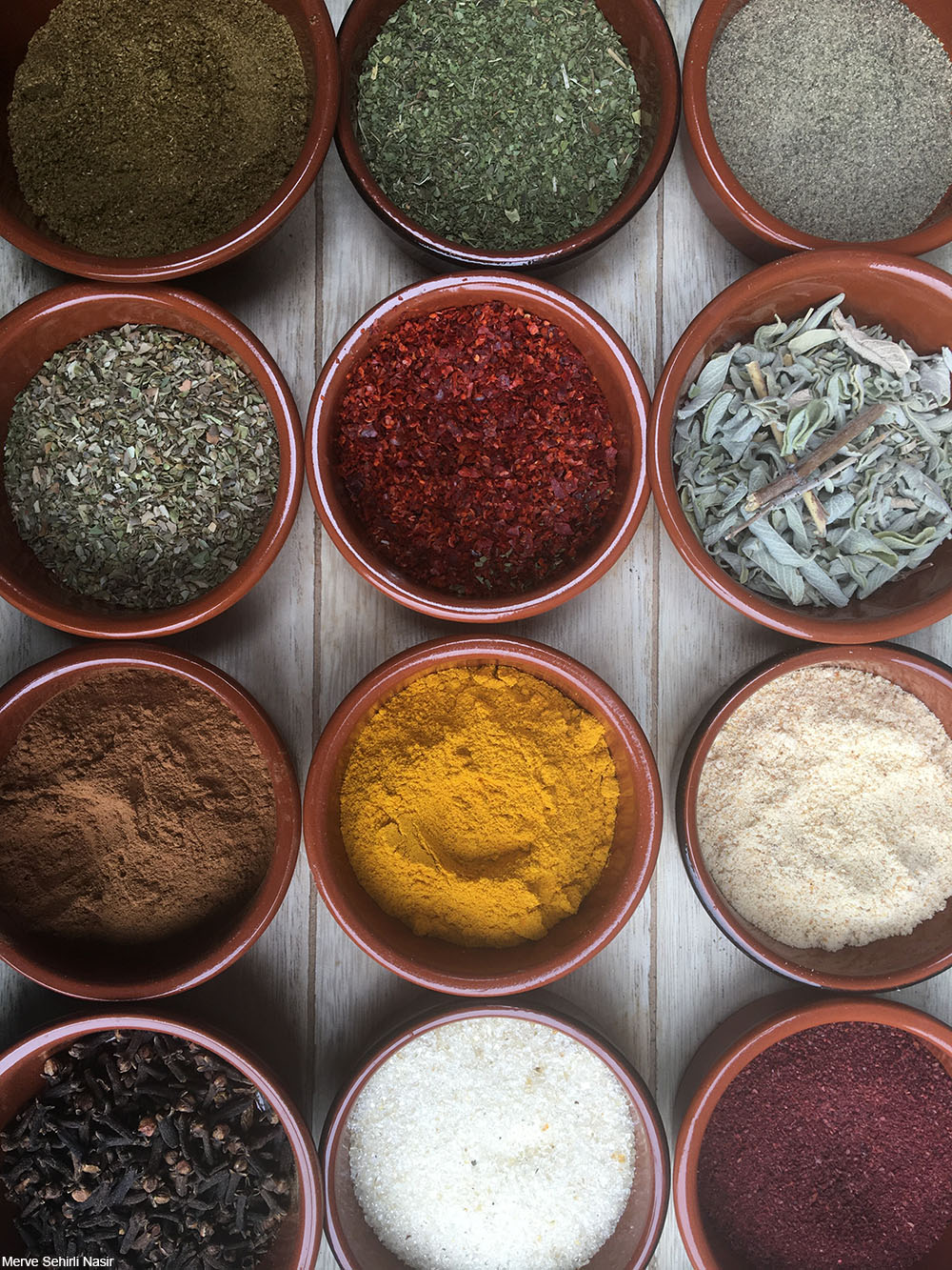 selection of spices in small bowls