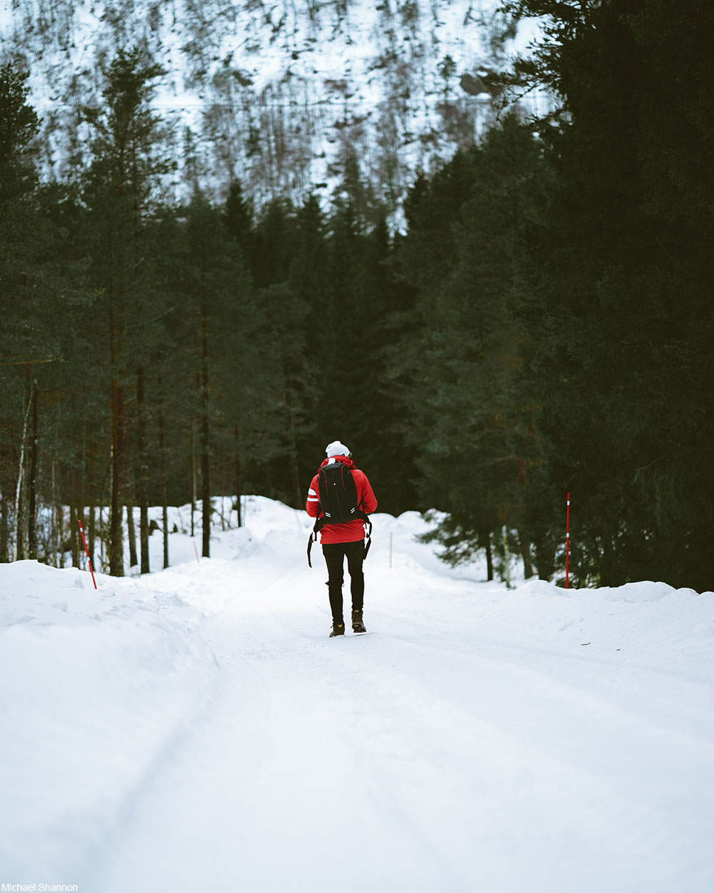 person walking in the snow in Norway