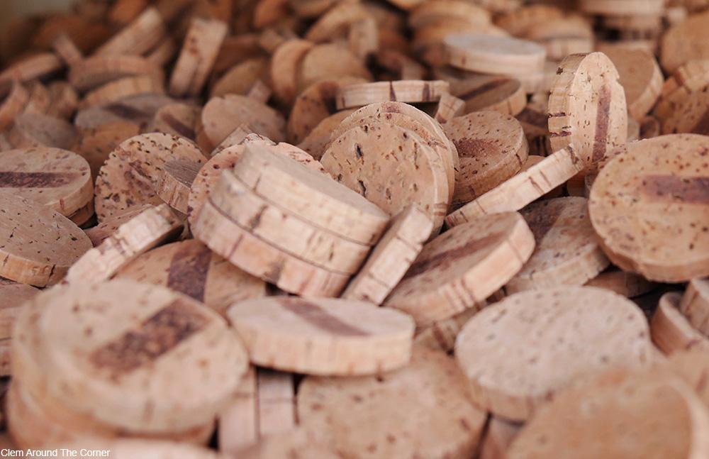 pile of sliced wine corks