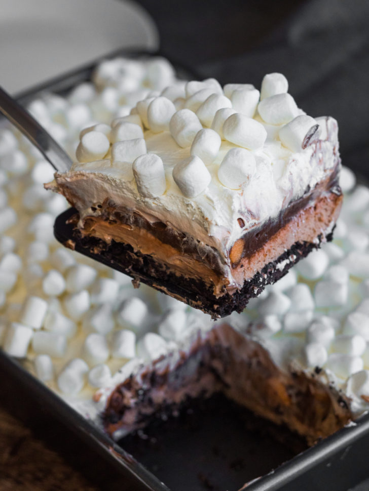 Close up of layered hot chocolate lush