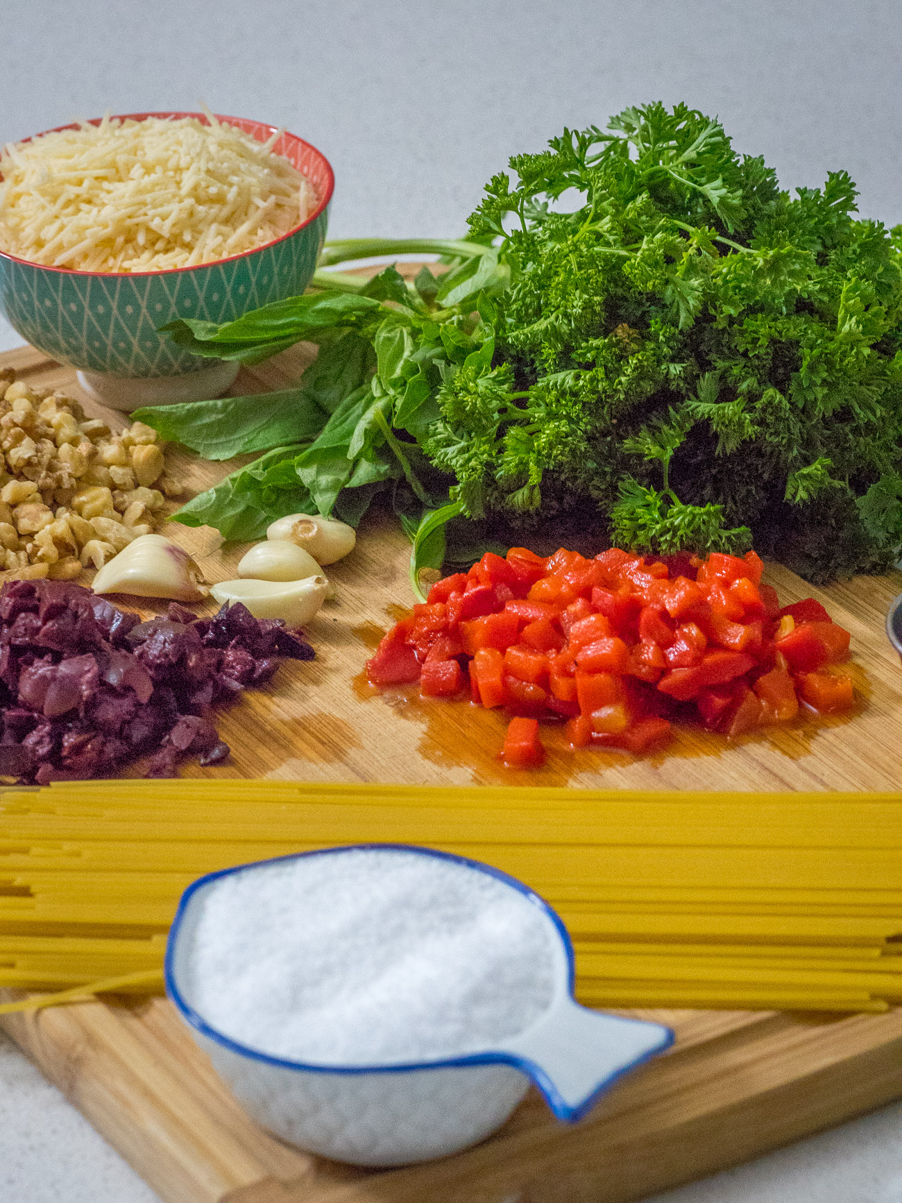 ingredients for Julia Child's Spaghetti Marco Polo