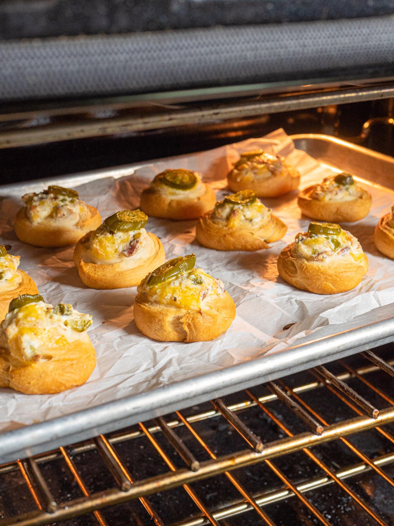 Bake for 9-11 minutes, until golden brown, and serve warm.