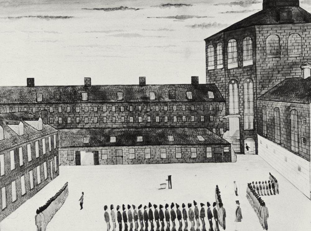 folkart drawing of prisoners at a Charlestown prison, Boston, 1850
