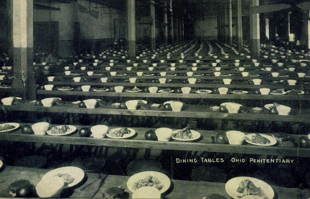 dining tables arranged with meals for prisoners at the Ohio State Penitentiary