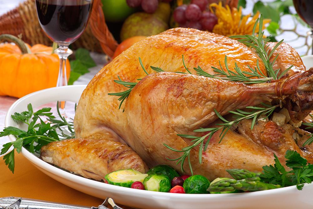 roast turkey on platter