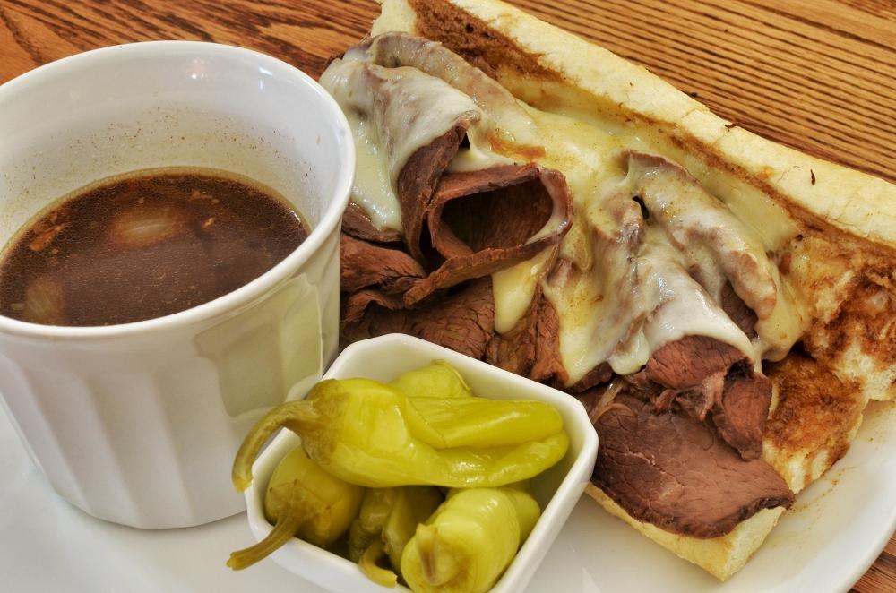 Philly steak sandwich served au jus