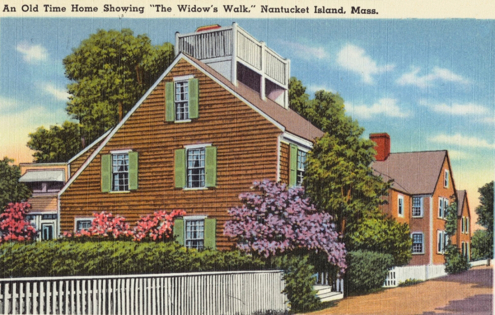 color postcard of a New England home with prominent widow's walk