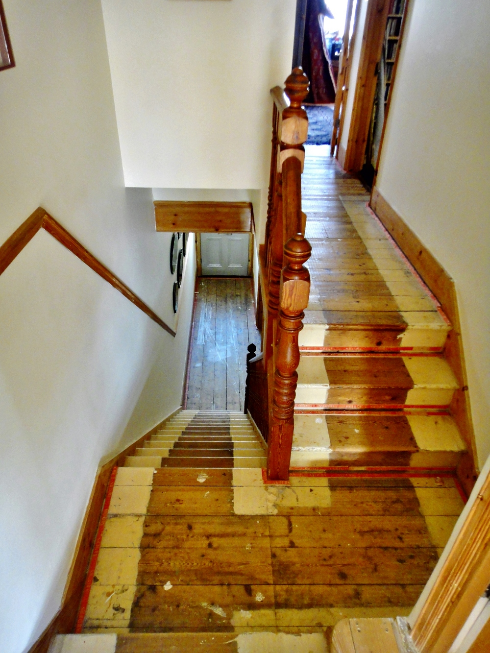 wooden staircase in old home