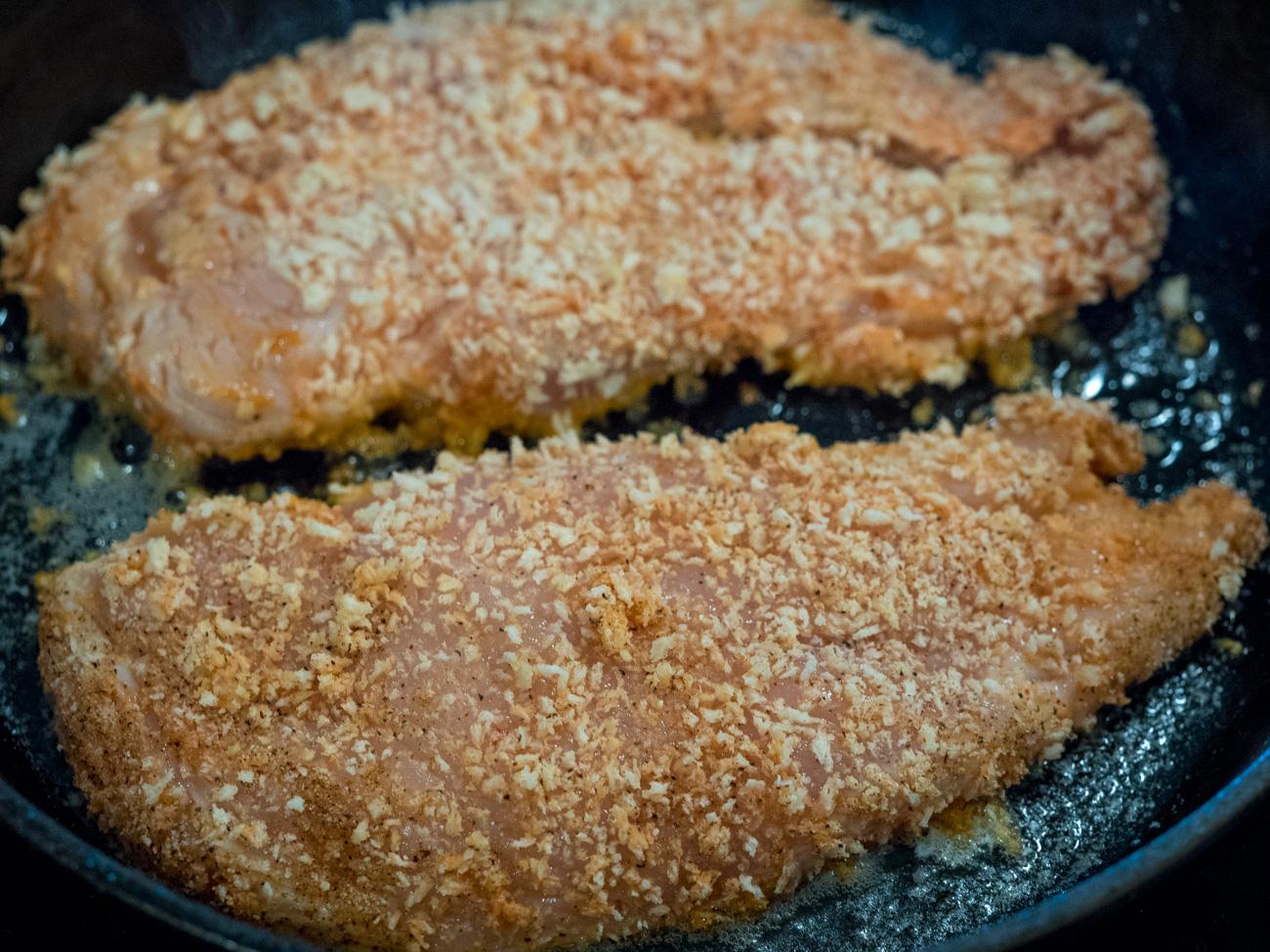 making Buffalo Chicken Parmesan