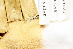 Packets of Raw and White Sugar