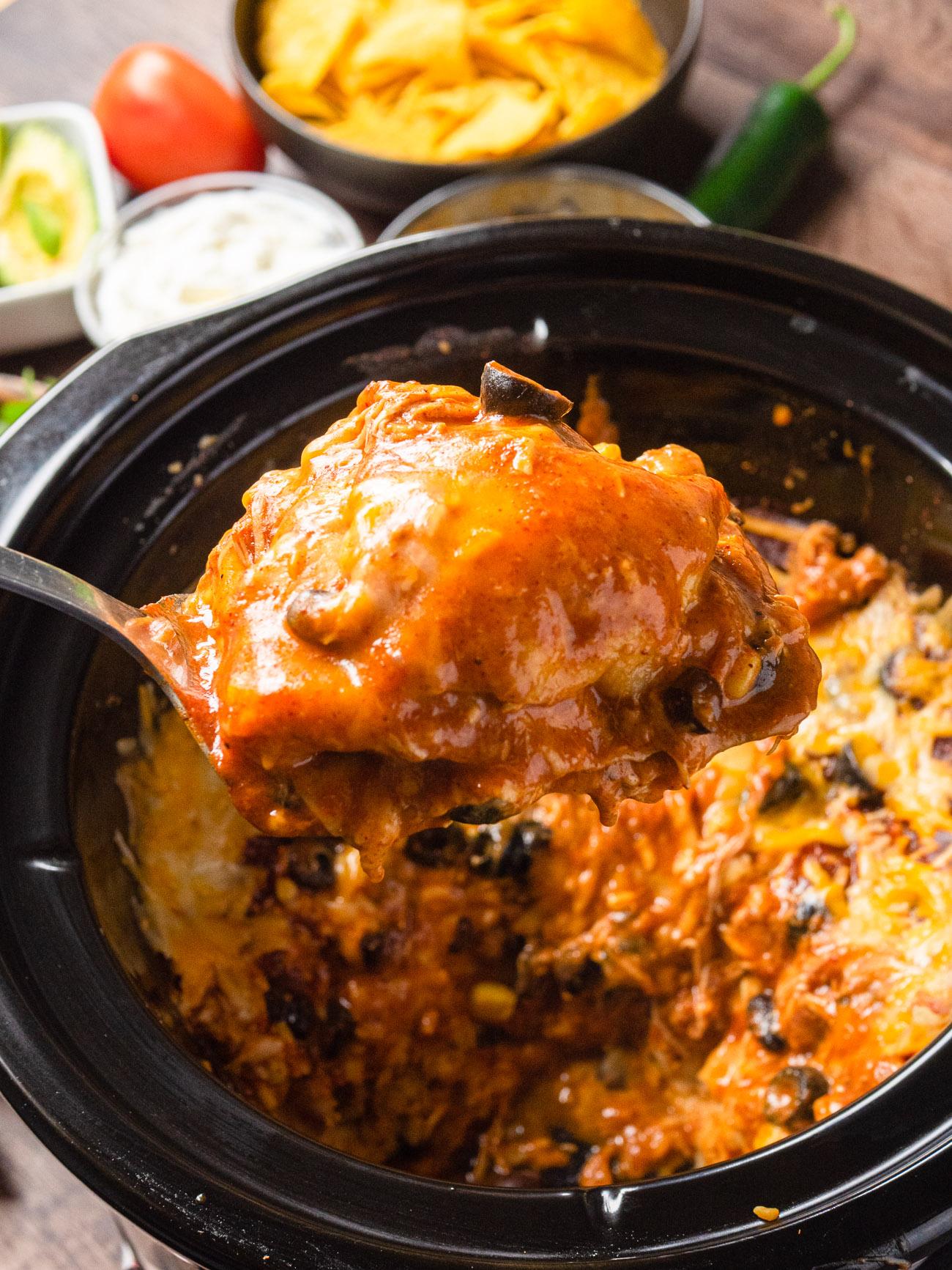 Slow Cooker Enchilada Casserole