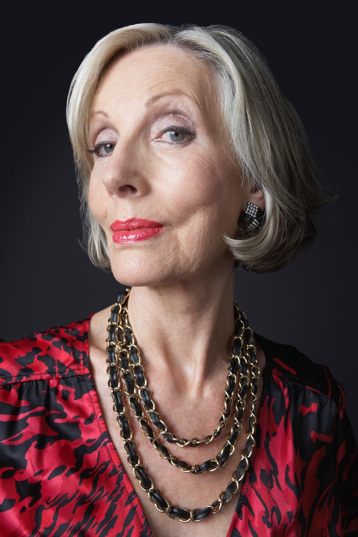 mature woman wearing red lipstick